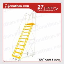 C portable moving ladder with wheels