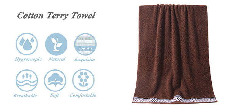 wholesale a 100% cotton  brown jacquard border hand utopia towels