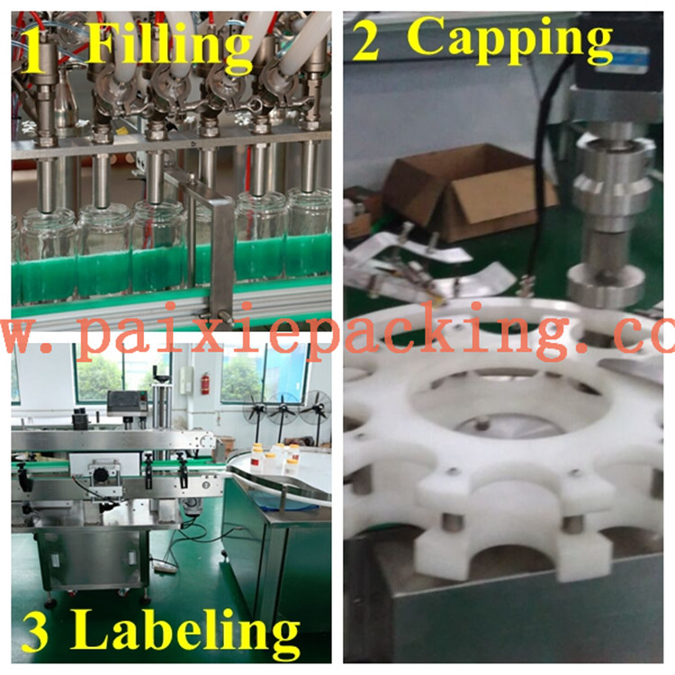 Shanghai paixie cost effective automatic honey filling sealing line tomato paste jam sauce butter filling machine