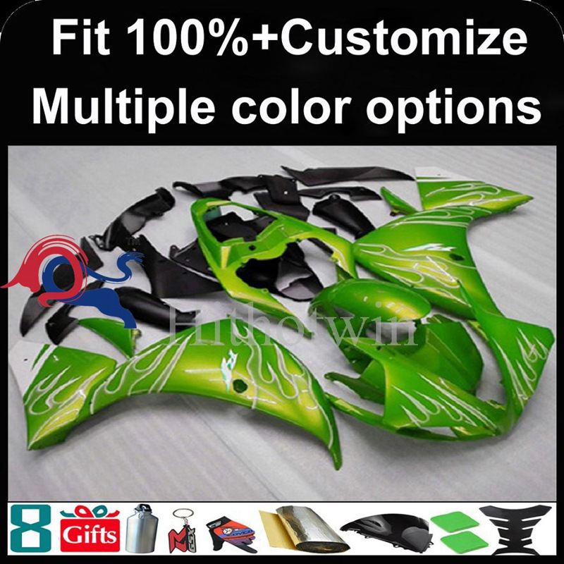 Injection mold green Body motorcycle cowl for Yamaha YZF-<strong>R1</strong> 2009-<strong>2011</strong> 09 10 11 YZFR1 2009 2010 <strong>2011</strong> ABS Plastic Fairing
