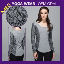 Nylon with Spandex knitted long sleeve fitness clothes yoga wear