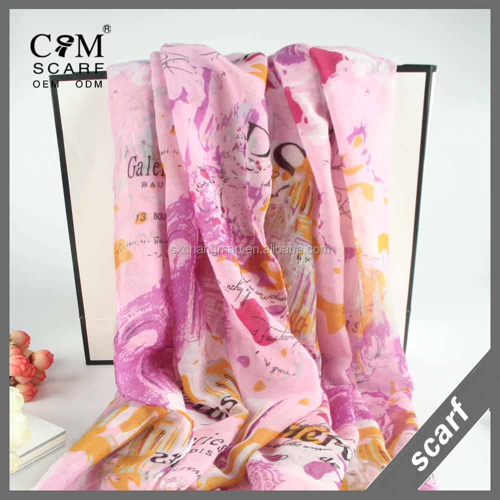 light weight soft words print rayon scarf