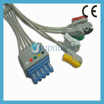 HP ecg cable with 5 lead wire,clip/grabber,IEC,M1971A