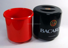 4 L Plastic Round shape beer / vodka / Champagne/wine ice wine cooler plastic ice bucket with Water Tray Inside and lid