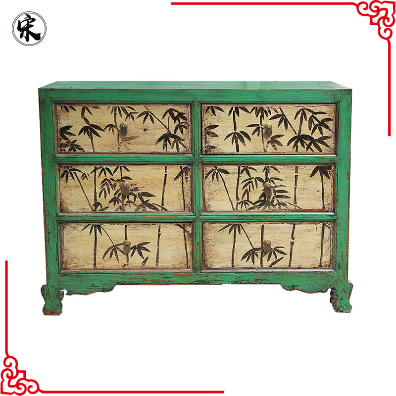 oriental storage painted furniture for stores use