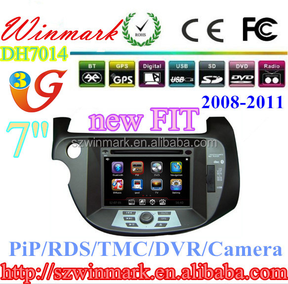 special 2 din 7 inch Car DVD Player for HONDA new FIT DH7014 with GPS,DVD,USB/SD,TV,RADIO,RDS,TMC,PIP,IPOD,3G,etc