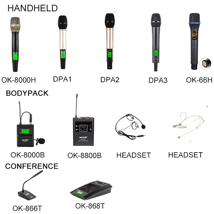 High standard cordless wireless microphone bodypack microphone clip on microphone  For Karaoke