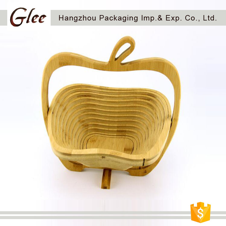 wholesale low price bamboo folding fruit basket