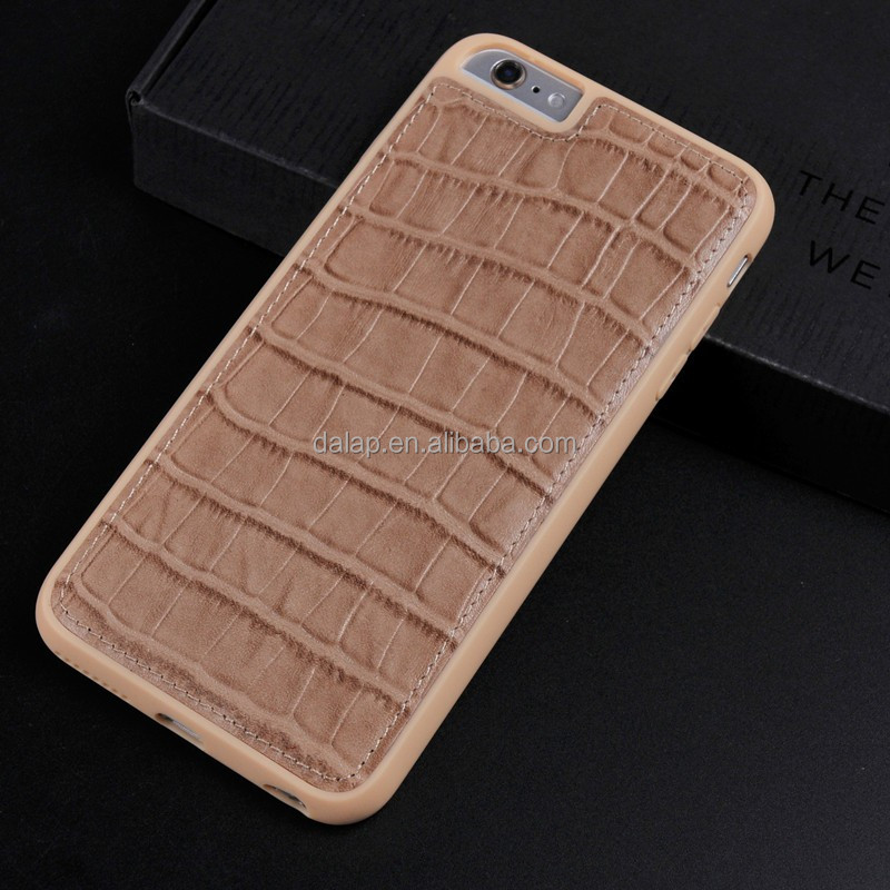 brown crocodile leather case for iphone 6, custom pc hard phone case, wholesale back cover for iphone