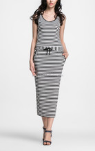 Stripe long pencil sleeveless striped ladies design bodycon dress korean style
