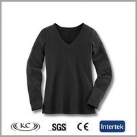 china popular wholesale black women cotton fitted long sleeve v-neck t-shirt