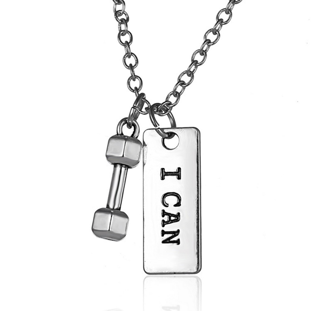 3YH-027 Fashion Jewellery Necklace Pendant Custom Personalised Name Dumbbell Necklace Men