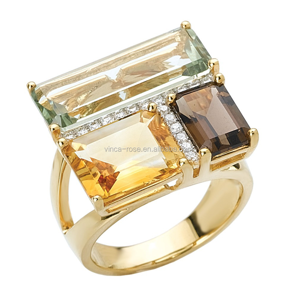 Gold plated colorful gemstone silver ring 925 with natural stone jewelry