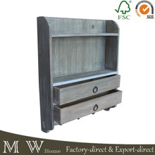 French Style Wooden Wall Units With 2 Drawers Shelf