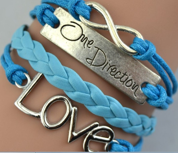 Leather band, blue and white leather ONE DIRECTION CHARM love leather bracelet leather band
