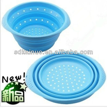 collapsible non stick silicone food strainer