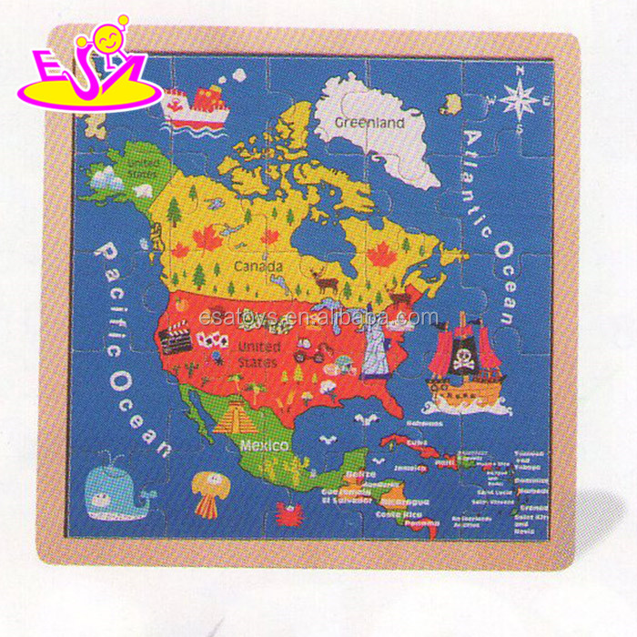 New popular wooden map jigsaw puzzles toy,Canada&USA map jigsaw puzzles toy,Hot sale educational map jigsaw puzzles W14C142