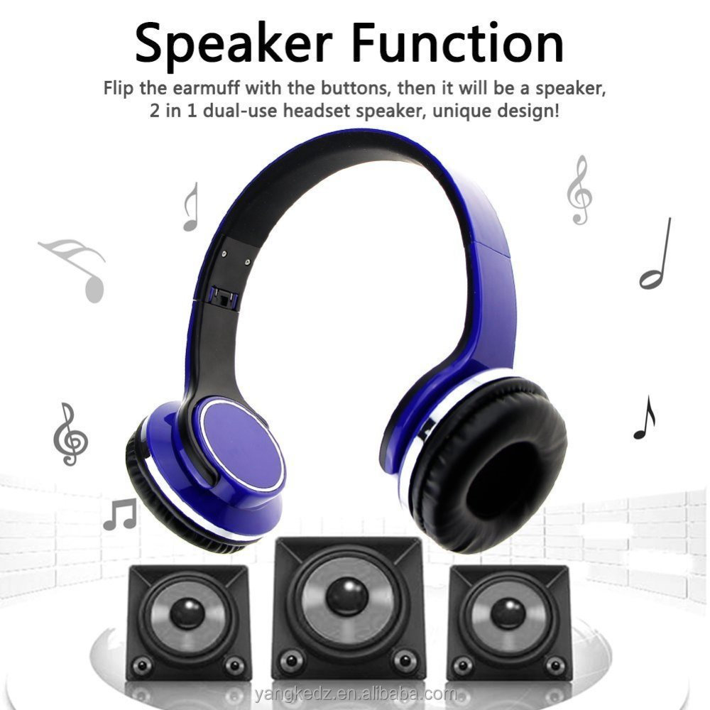 Wireless Foldable Bluetooth Headphone with Speaker 2 in 1 Dual-use Bluetooth Stereo Headset Support TF Card FM Radio