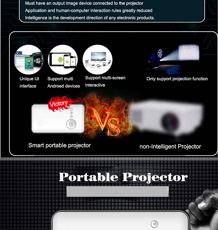 DLP 1000 Lumens CRD1Android 4.4 Smart LED Mini Portable Projector