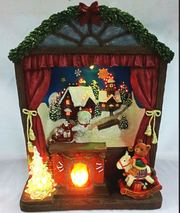 TG2179 polyresin winter scene in window led christmas scene musical christmas home decoration