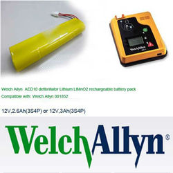 Welch Allyn AED10 defibrillator Lithium LIMnO2 rechargeable battery pack