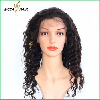 Most fashionable 100% Peruvian raw hair healthy & soft deep wave full lace wig