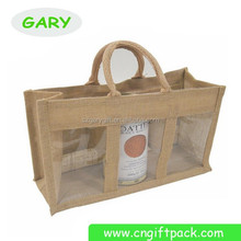 personalized jute wine gift bag with handles