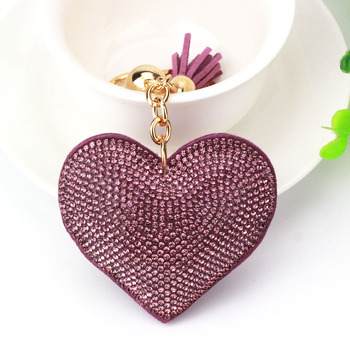 AP_10146 New PU Leather Keychain Girl's Romantic Rhinestone Heart Design Pendant Key Chains Diamond Keychain
