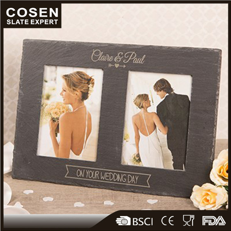 Wedding Decoration Slate Stone Picture Frame Candle Holders