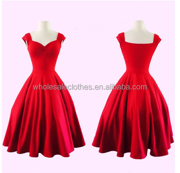 wholesale high-end Red Fashionable Retro style Knee Length pure color Vintage 50s dress Plus Size