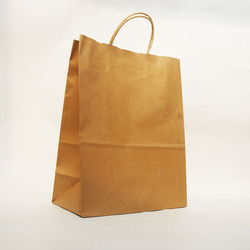 "8""x4.75""x10.5"" ECO friendly brown kraft paper good quality cheap recycled handle bag with stocking"