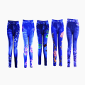 Ladies print flower wear outside denim jegging
