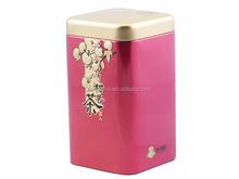 food grade chinese square metal tea and coffee box tin container