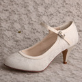 White Lace Pumps Wedding Mary Jane