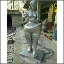 Modern decorate metal bronze fat woman art fiberglass sculpture for sale