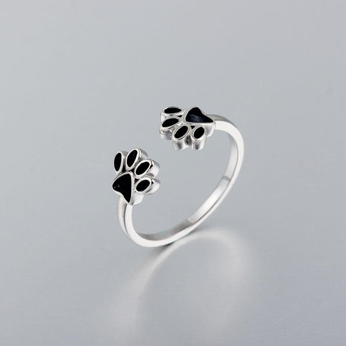 Dog Claw Ring, Pet Jewelry, Sterling Silver Enamel Ring