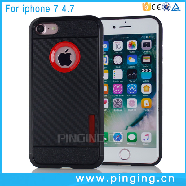 Free shipping phone case for iphone 7,carbon fiber black flexible tpu cover for i phone 7