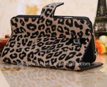 Leopard grain leather wallet case pouch for galaxy s4 fit, stand pouch for galaxy s4 suppliers manufactory