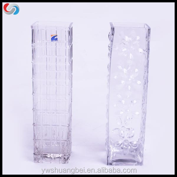 "15"" High Glass Square Flower Vase For Wedding Centerpiece"