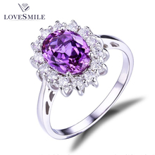 925 Silver Ring with Purple Stone Fancy Stone Rings for Women Jewelry