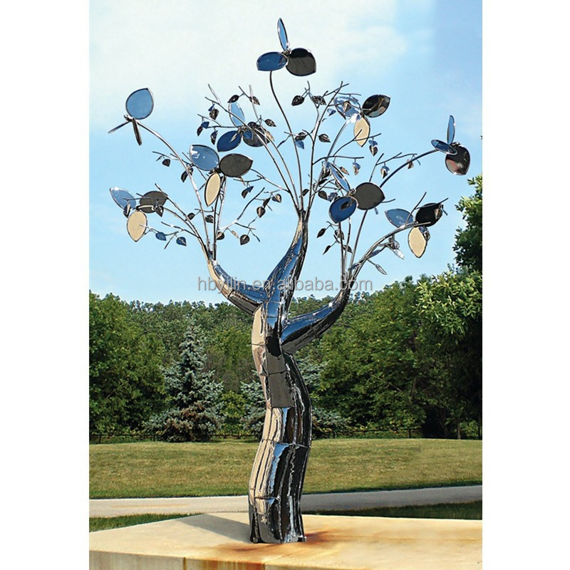 Stainless steel tree garden sculpture, outdoor sculpture