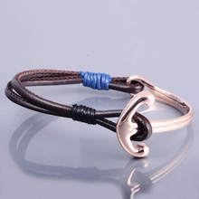 Unique Costume Jewelry Import Anchor Leather Bracelet