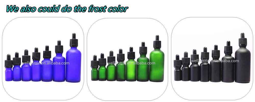 10ml 30ml 50ml frosted black coloured glass dropper essential oil bottle with bamboo cap GB-402T