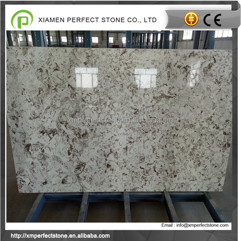 Artificial quartz countertops with veins