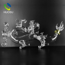 Huosu 750ml Custom Designed Animal Dragon Shape Glass Liquor Bottle Wholesale