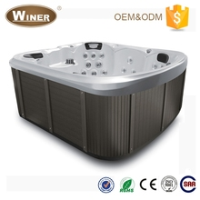 Guangzhou Winer European style 7 persons indoor acrylic luxury water spray whirlpool adult massage hot tub indoor spa