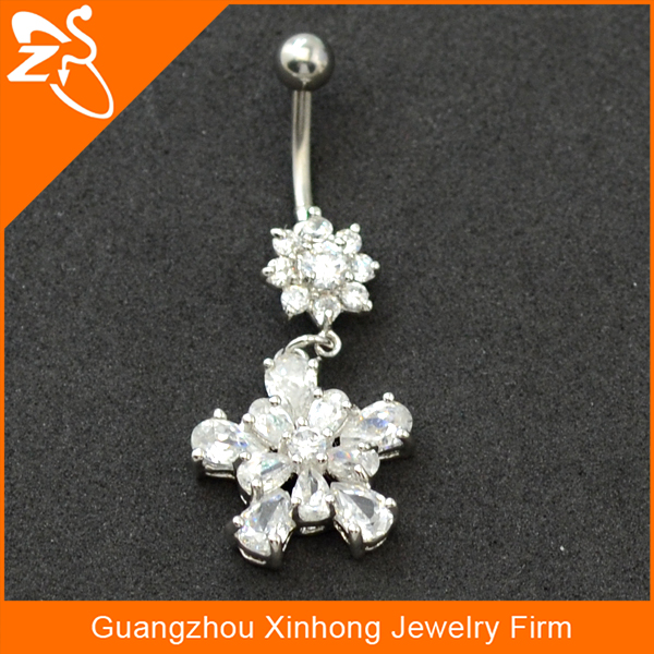 stainless steel big flower body jewelry indian style belly ring