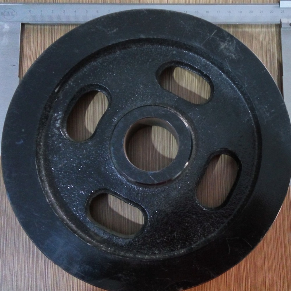 Black Double Grooves Steel Round Belt Crank Rope Sheaves