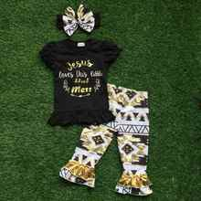 2016 new Arrival baby Girls Spring stuff short aztec sleeves Jesus shirt balck capris with matching bow set