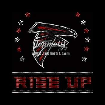 Atlanta Falcons Football Rise Up Rhinestone Iron On Transfer Hotfix Bling